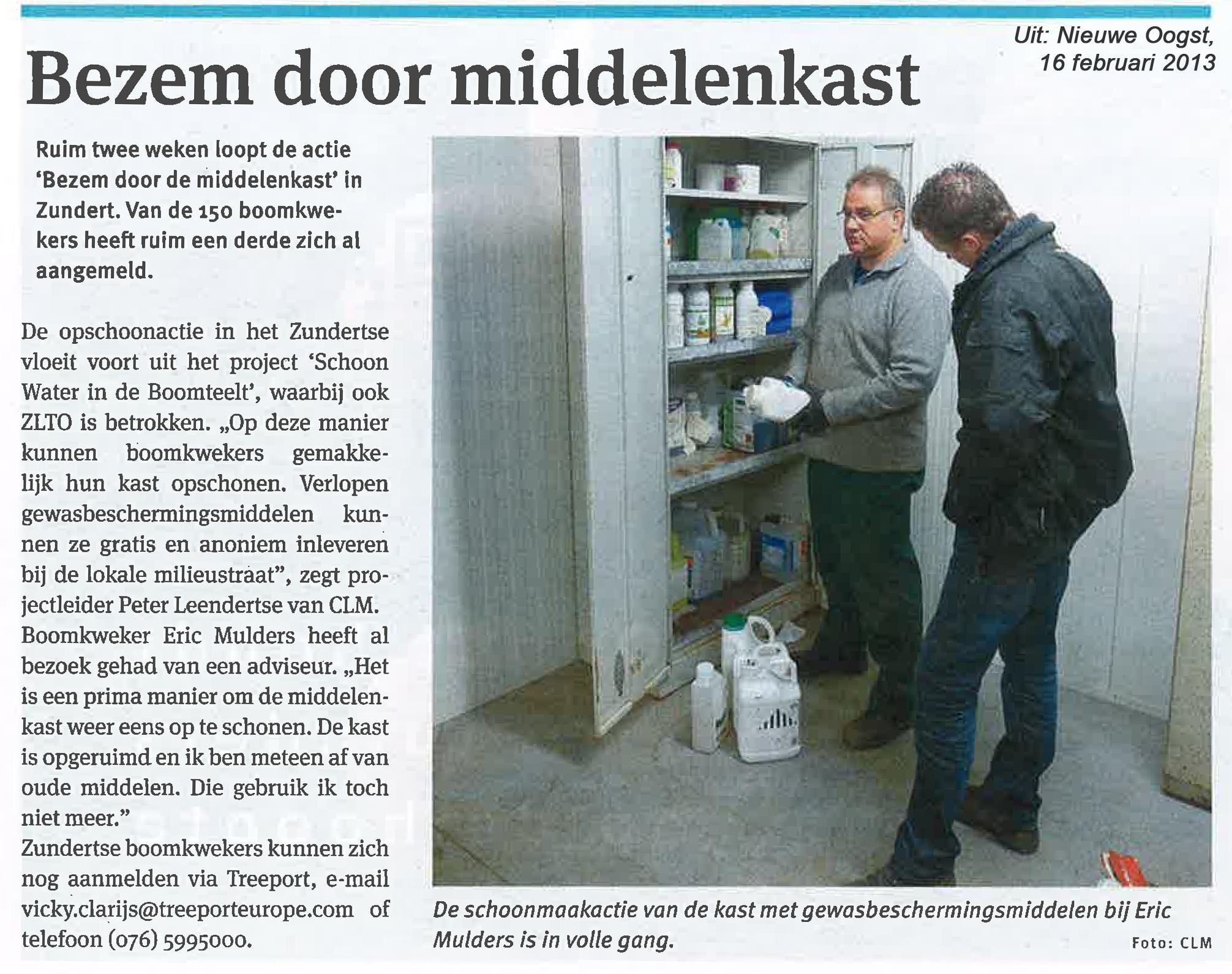 Artikel Bezem door middelenkast in Nieuwe Oogst, 16 februari