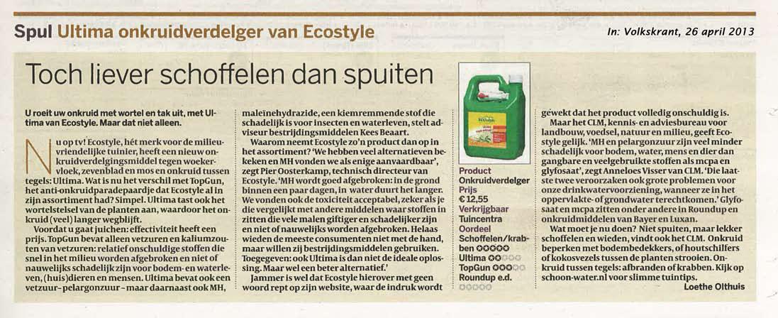 Artikel Volkskrant 26 april 2013, over vergelijking onkruidbestrijdingsmiddelen wieden