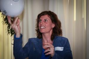 Hanneke Koppens met bal